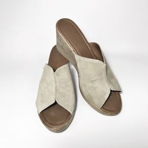 Mila Paoli Suede Open Toe Mules Wedges